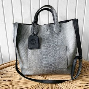 London Fog Gray Snake Print Faux Leather Tote Bag